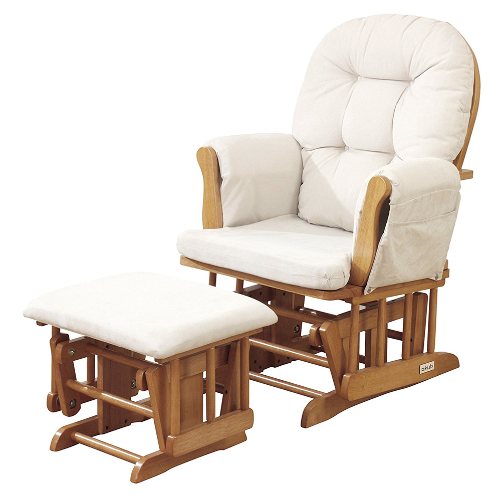 Kub Haywood Natural Finish Glider Chair and Footstool
