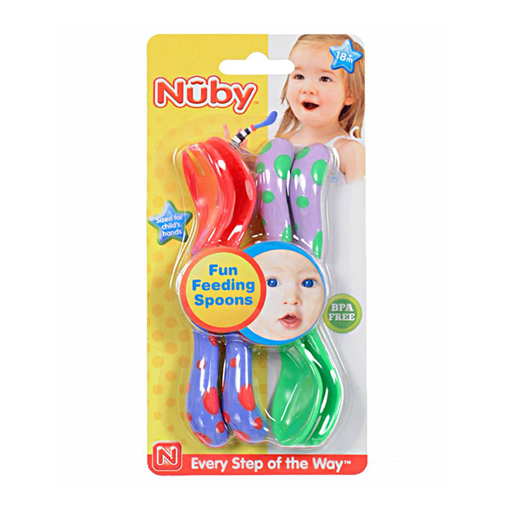 Nuby Fun Feeding 2 Pack Spoons & Fork