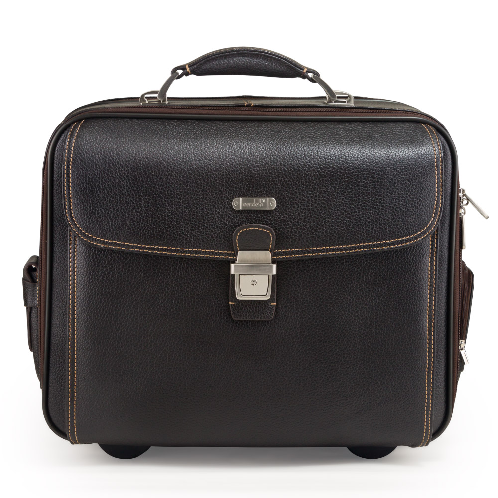 Condotti Leather Laptop Trolley