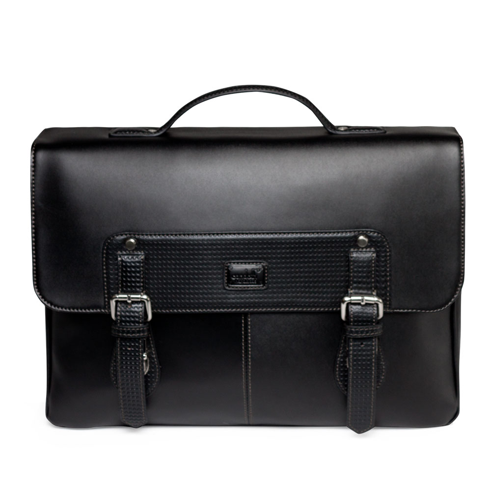 Condotti Leather Briefcase with Buckles