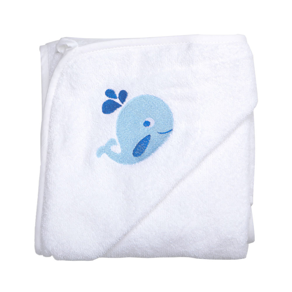 Junior Joy White Embroidered Baby Hooded Towel