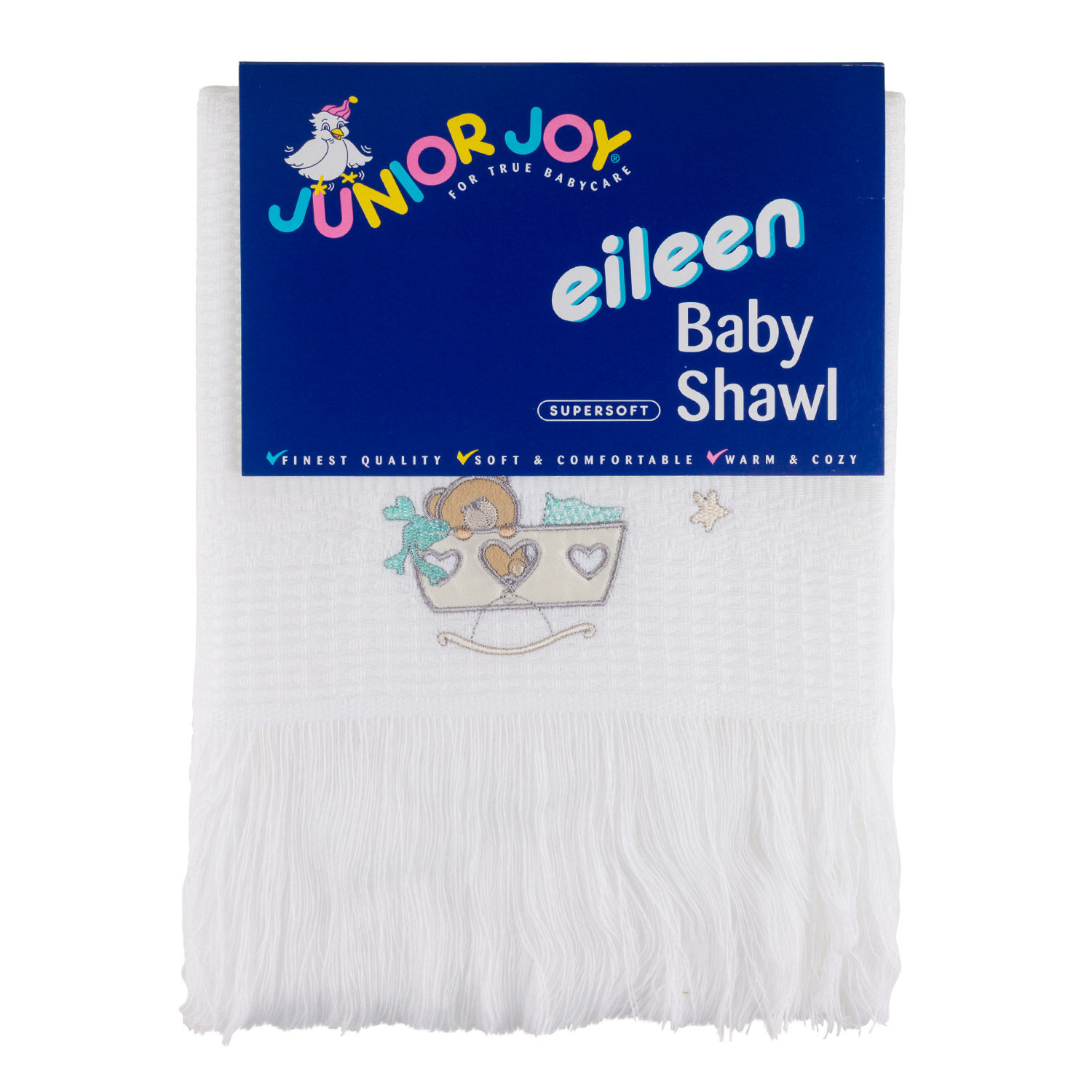 Junior Joy Embroidered Baby Shawl