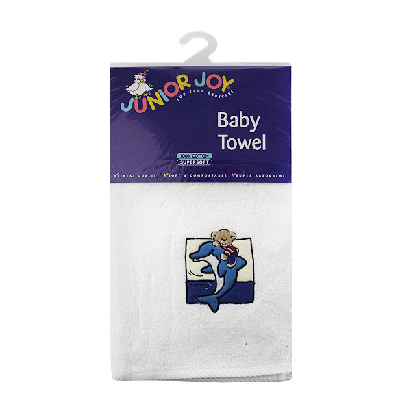 Junior Joy Embroidered White Baby Towel