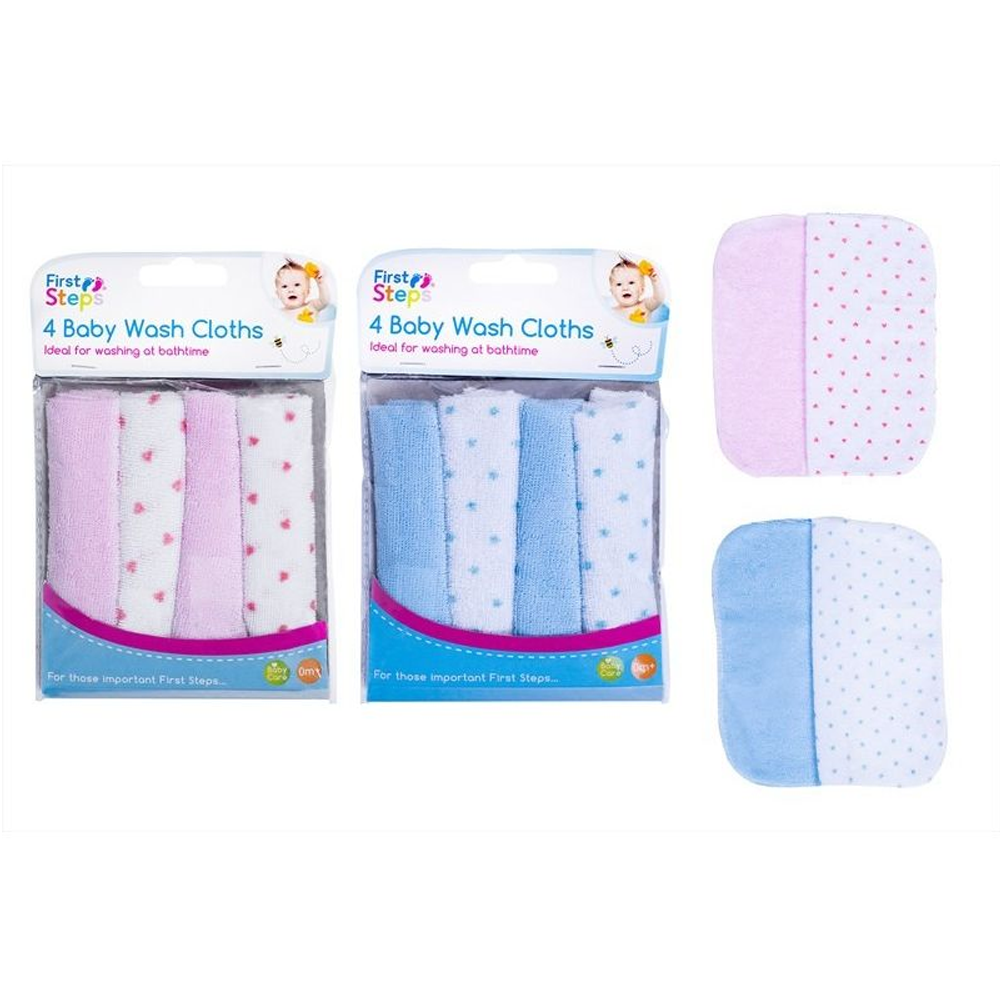 First Steps 4 Pack Baby Wash Cloths
