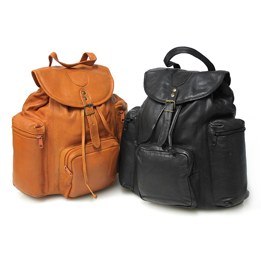 Le Sabbi Waxed Leather 3 Zip Pocket Rucksack